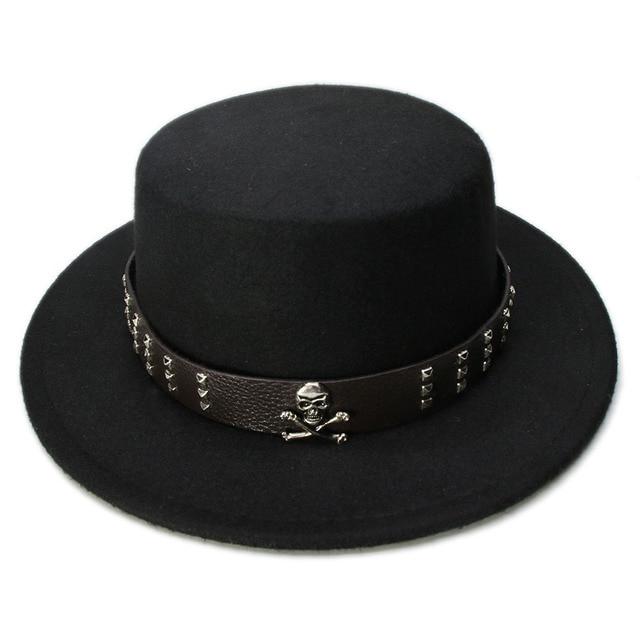 7123ced5bf692 LUCKYLIANJI Women Men Vintage 100% Wool Wide Brim Top Cap Pork Pie Pork-pie  Bowler Hat Skull Bead Leather Band (57cm Adjust)