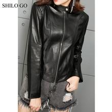 SHILO GO Leather Jacket Womens Autumn Fashion sheepskin genuine Leather Jacket O Neck single button long sleeve zipper coat