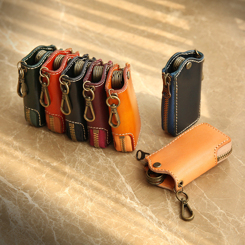 YIFANGZHE Keys Wallet Case, Genuine Cowhide Leather Women Men Leather Car Key Chain Card Holder, Money Wallet Pouch Case 5 Keys