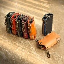 YIFANGZHE Keys Wallet Case, Genuine Cowhide Leather Women Men Car Key Chain Card Holder, Money Pouch Case 5 keys