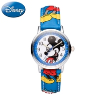 Mickey Minnie Mouse Children Lovely Water Resistant Watch Boys Girls Fashion Casual Kids Leather Steel Watches