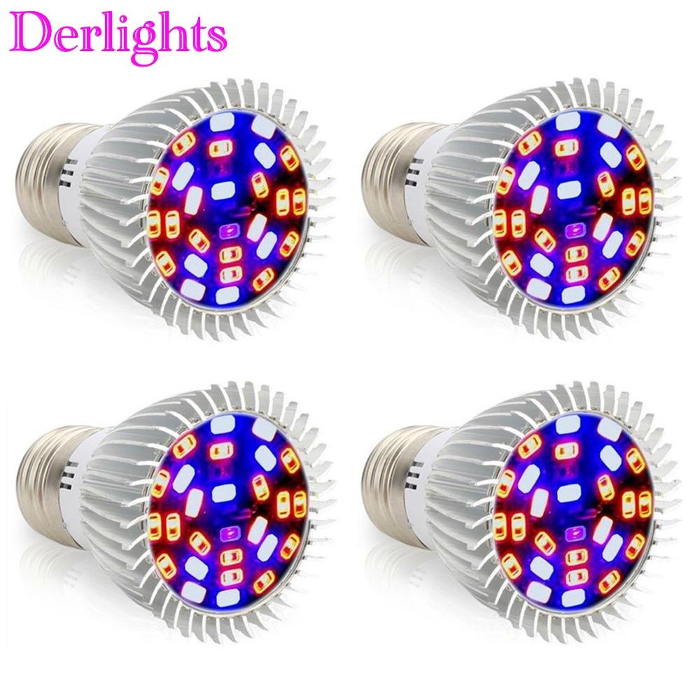 [4pcs/lot] E27 28LED Grow Light 28W AC85~265V Full Spectrum Indoor Plant Lamp For Seedling Vegs Medicinal Flower Hydroponics