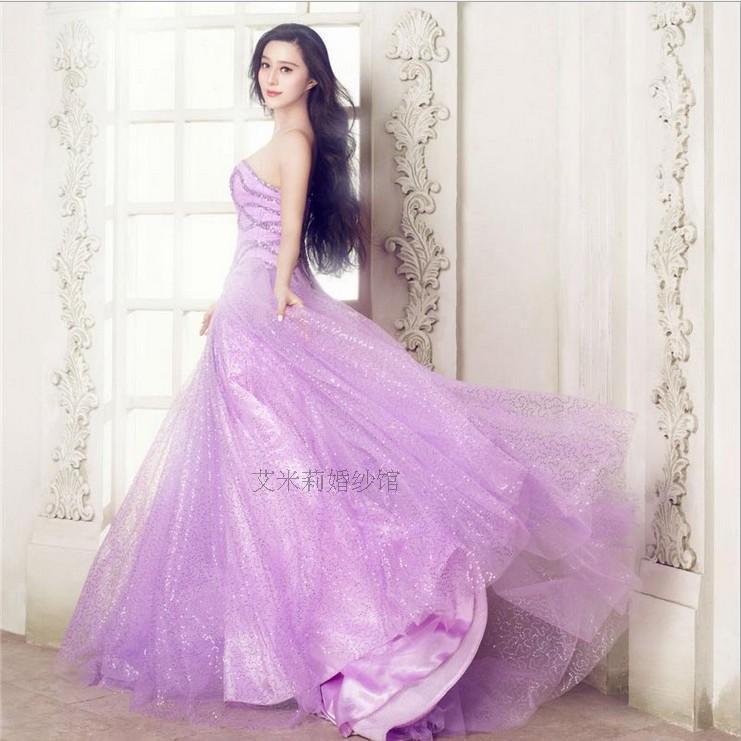 Vestido de debutante cristal novia luz púrpura largo Masquerade Ball ...