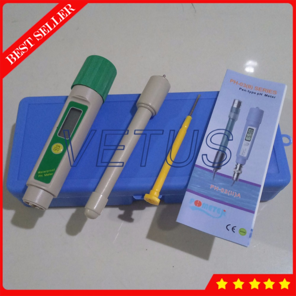 Portable Digital PH Meter Price with 0.1PH Accuracy phmeter PH-03(II)L Waterproof pen type ph tester ph 03 ii c for cheese