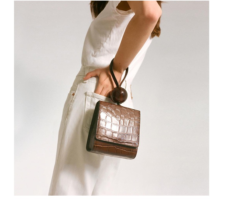 Caker Brand 2019 Women PU Leather Alligator Brown Green Handbag Beaded tote bags Dress Bags Drop Shipping(China)