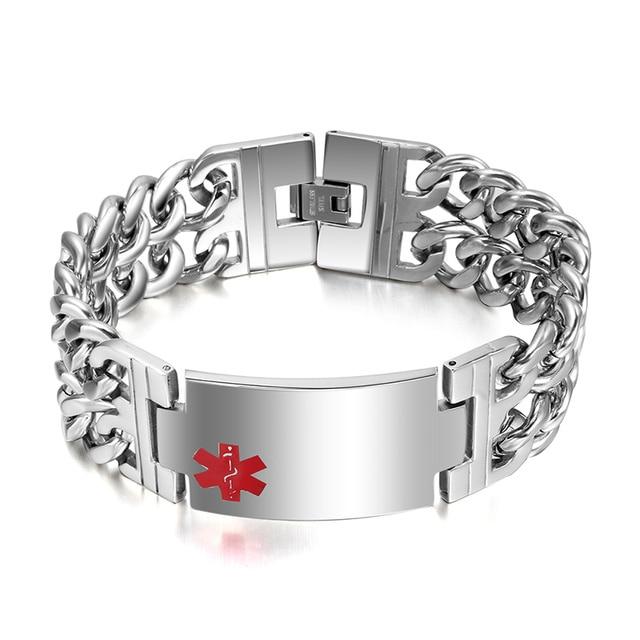 Free Engraving Men S Medical Alert Id Double Link Chain Bracelet Stainless Steel Wrist Heavy