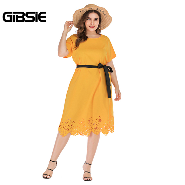 GIBSIE Plus Size Casual Solid Round Neck Short Sleeve Midi Dresses Summer Women Tunic Belted Hollow out Straight Dress 4