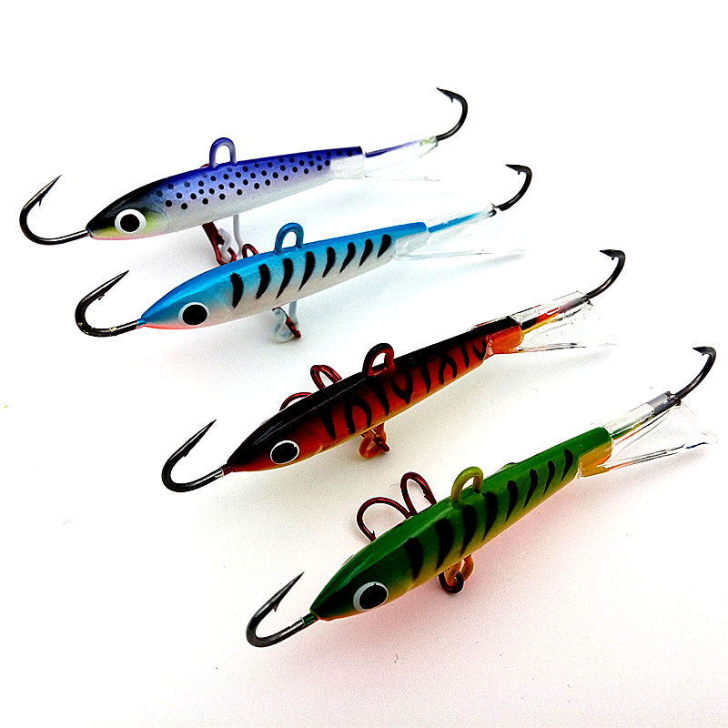 4pcs 18g 83mm color spoon metal lures ice fishing lures for Walleye fishing gear