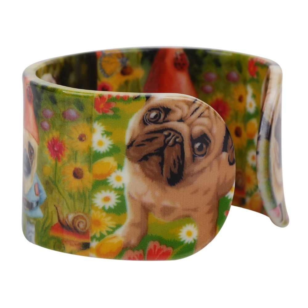 Teste Padrão Do Cão do Pug WEVENI Acrílico Ampla Bangles Pulseiras Bonito Bulldog Animais Jóias Para Mulheres Novo Feriado Charme Menina Acessórios