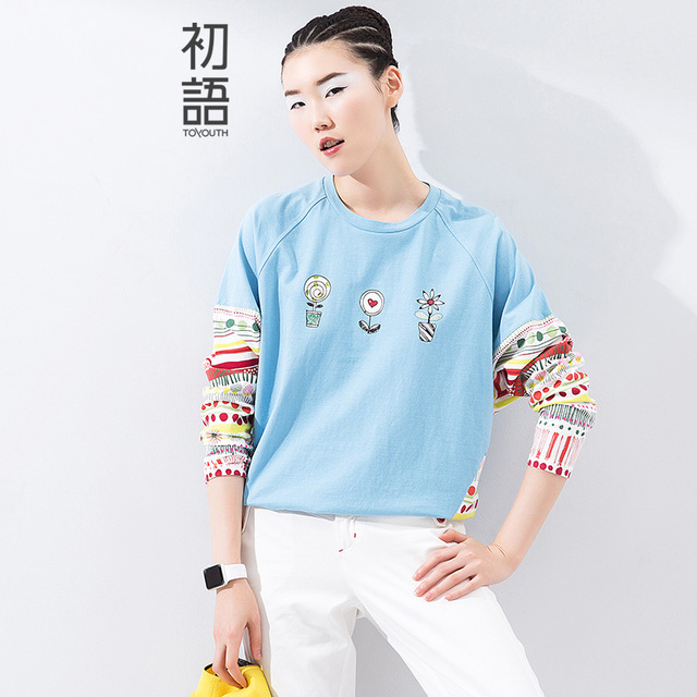 Toyouth 2017 Spring Summer New Arrival O-Neck Print Flower Pattern Appliques Three Quarter Batwing Sleeve Women Casual T-Shirts
