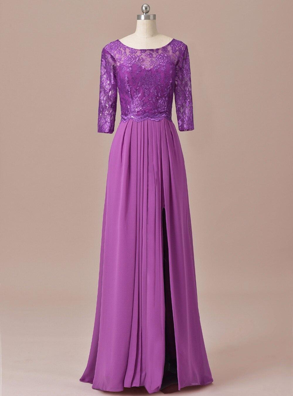 Une ligne demi manches Scoop dentelle Vintage mère de la robe de mariée pour le marié 2019 longue formelle robe de soirée SLD-M15