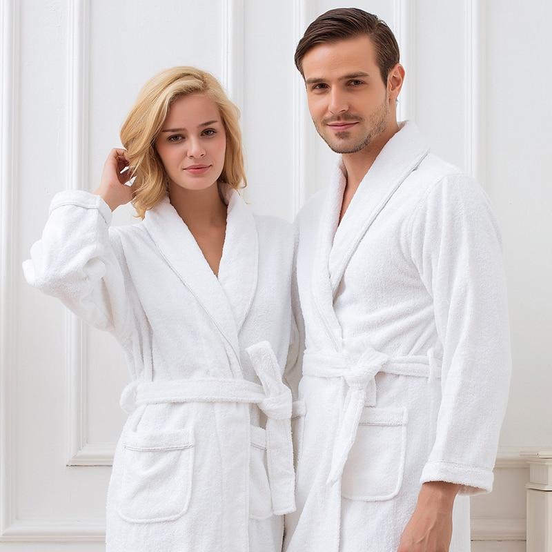 Men s Robe Cotton Thick Long Winter Kimono Robe White Plush Lengthened Shawl Bathrobe Home Clothes