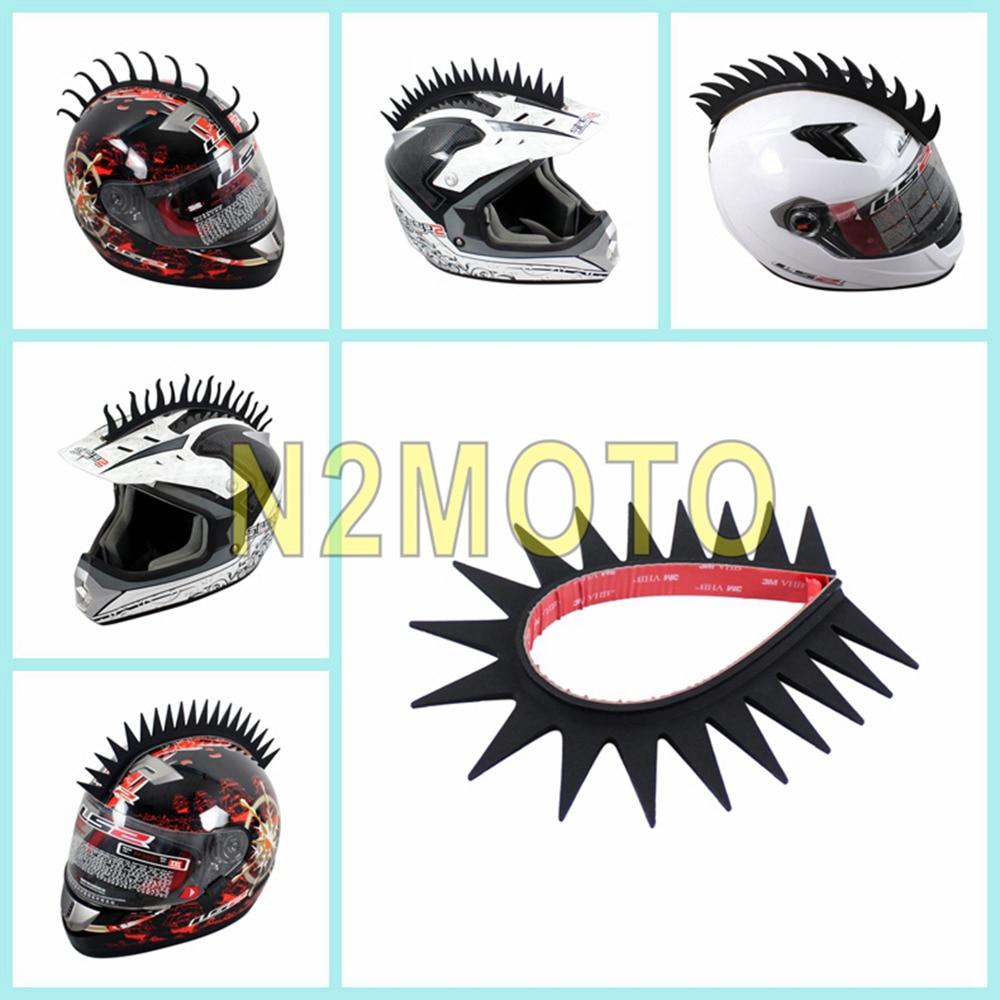 Black Motorcycle Helmet Sticker Mohawk Spike Cool Biker Warrior Stick Rubber Strip Motobike Saw Blade Flame Wave Style
