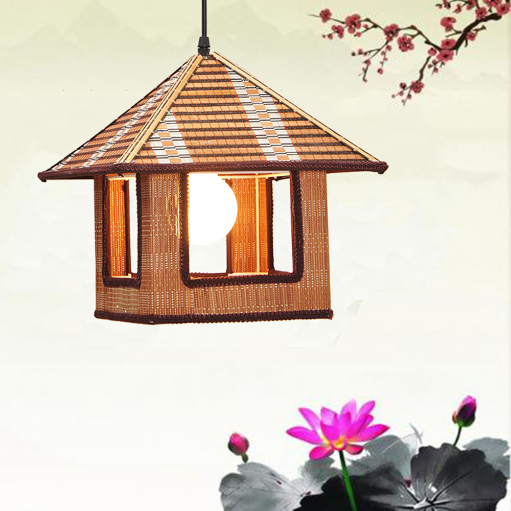 Bamboo pendant light Wicker Chinese Simple Small House droplight Balcony Warm Bird Cage Tea House are pendant lamps ZH zb19