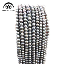 MADALENA SARARA 8-9 AAA Freshwater Pearl Necklace Strand Grey Color For DIY Jewelry Making цена 2017