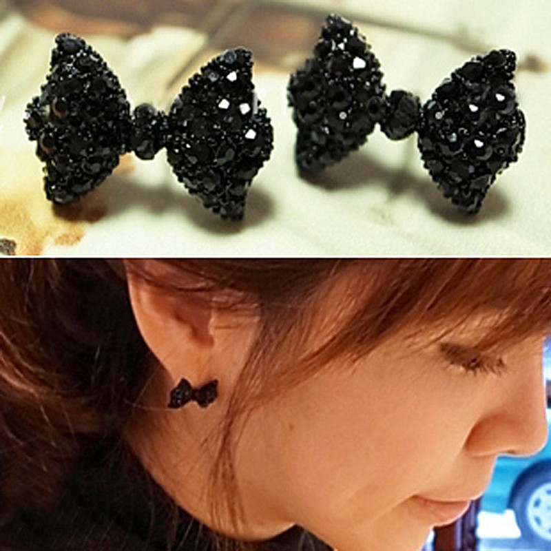 ES558 Fashion Stud Earrings For Women Black Cute Bow Tie Brincos Jewelry