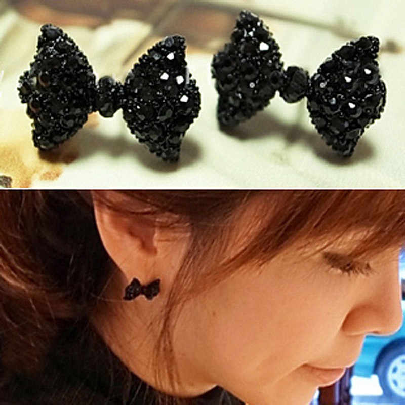 ES558 Fashion Stud Earrings For Women Black Cute Bow Tie Brincos Jewelry  Accessories Wholesales 2018