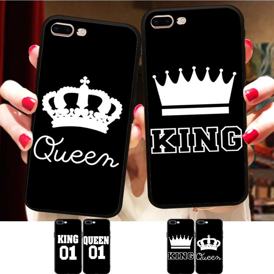 BFF King and Queen Couple Match Case For iPhone X 8 5 5S XR XS Max 6 6S 7 Plus Case Best Friends Silicone Phone Fundas Capinha image