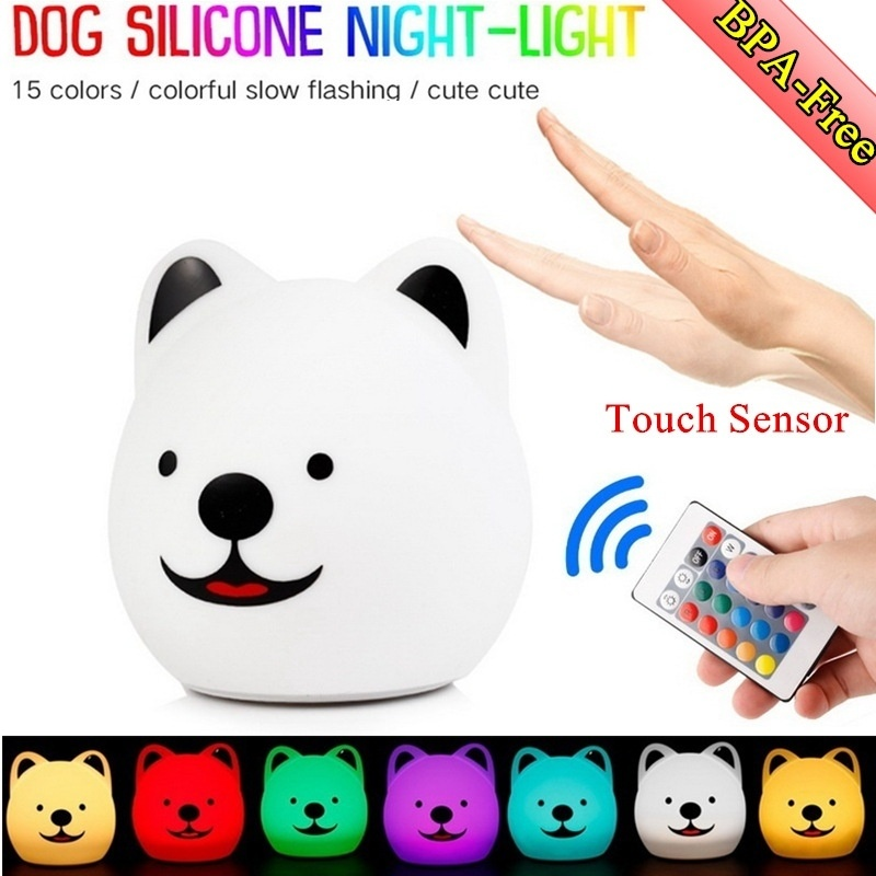 Portable And Rechargeable Cute Animal BPA-Free Silicone Baby Night Light (7 Colors)with Touch Sensor And Remote