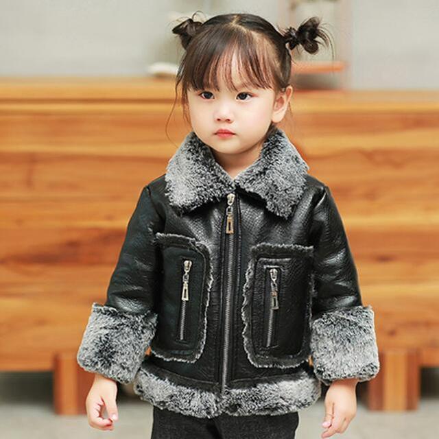 c50d418e0e4c Toddler Girl Turn Down collar Fur lining Coat Crocodile PU leather ...