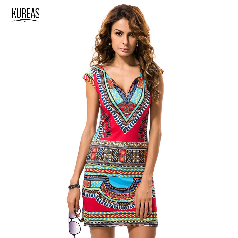 Kureas African Dashiki Dress Digital Print Mini Summer Dresses For Women National Kanga Clothing Sexy V-Neck Africa Clothes