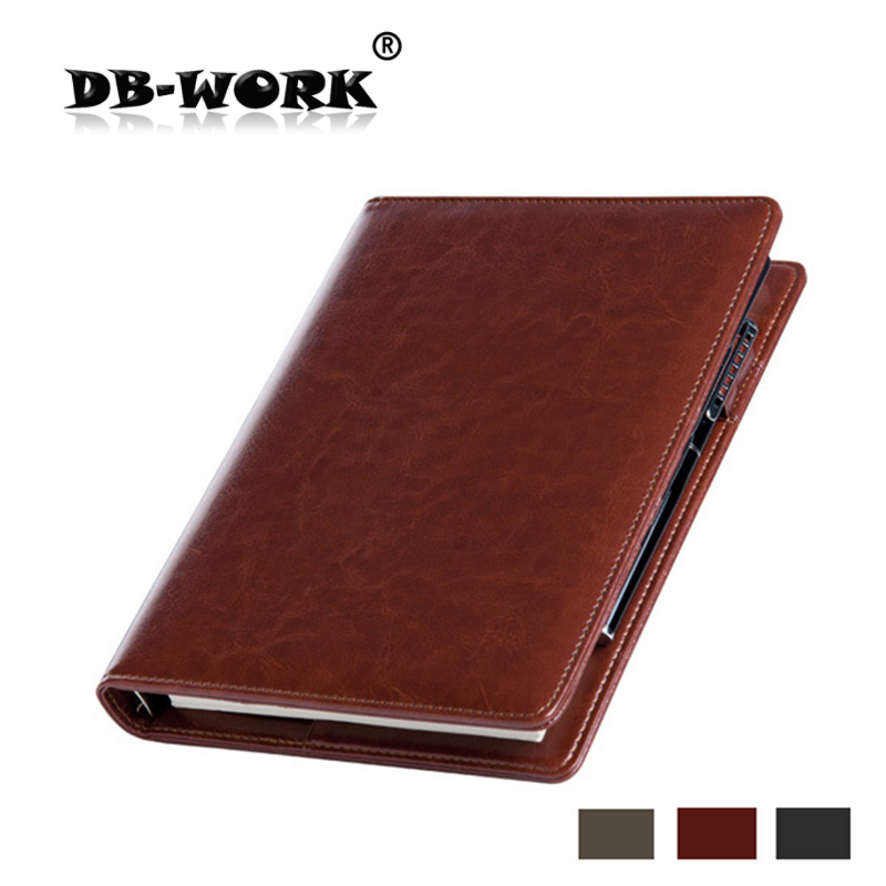 2017 A5 business notebook office stationery with loose leaf notebook laptop learning diary premium leather can be customized a6 small business notebook retro style leather notebook office learning notes notebook comes with a pen