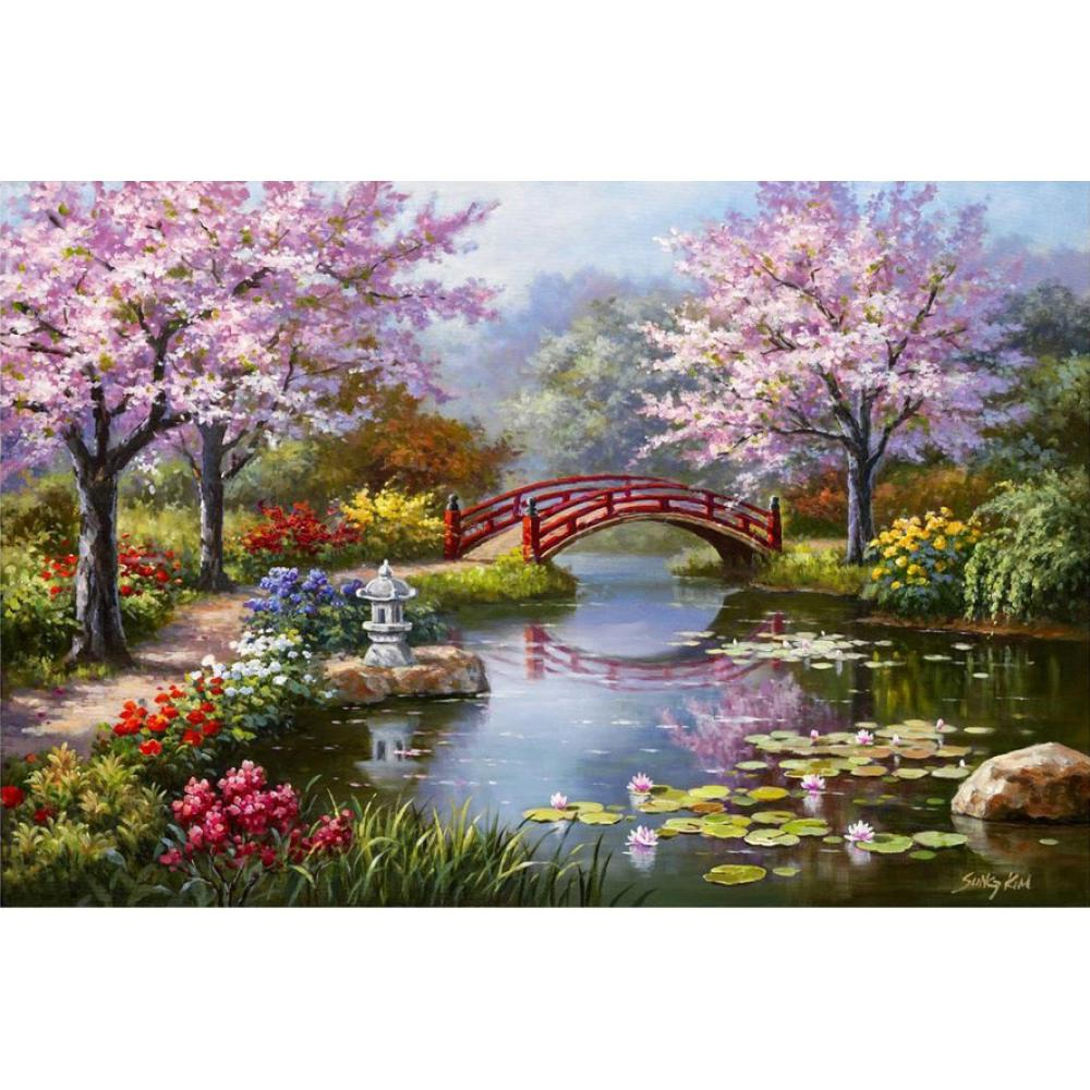 hand painted contemporary art landscapes oil painting on canvas japanese garden in bloom wall decor high