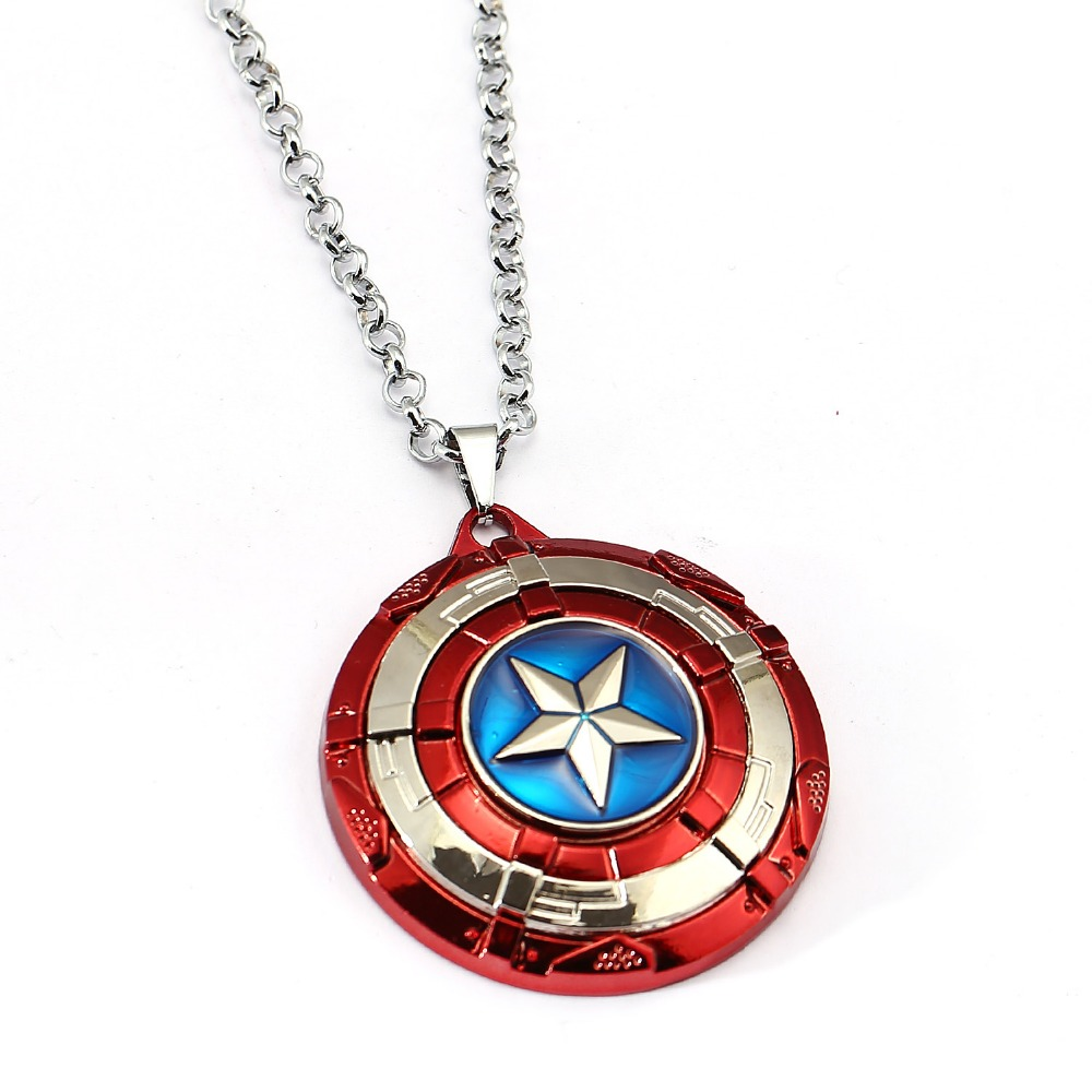 ヾ ノ4 colors captain america necklace the avengers rotatable