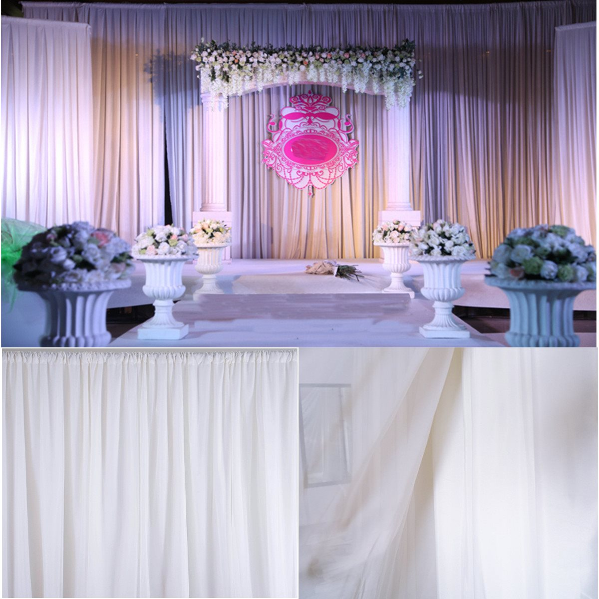 Wedding White Sheer Silk Drapes Panels 2.4x1.5M Hanging Curtains Photo  Backdrop Textiles Accessories