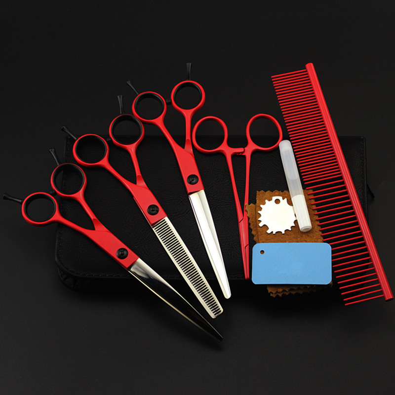 5 kit Professional Japan 7 inch red pet dog grooming hair scissors set pet cutting shears thinning barber hairdressing scissors purple dragon 7 inch pink black thinning pet shears dog hair scissors clipper for dogs professional grooming tool for dog cat