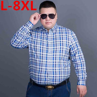 Large Size 8XL 7XL 6XL 2017 Men S Plaid 100 Cotton Dress Shirts Male Long Sleeve