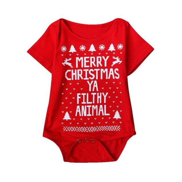 New 2016 new born baby clothes  Boys Girls Printed Christmas Romper Jumpsuit Xmas winter romper ld ourlove bebes