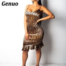 Genuo Leopard Print Sexy Summer Dress Women Spaghetti Strap Backless Mini 2018 Short Nightclub Party Vestidos