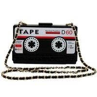 Unique personality retro radio shape bag ladies handbag chain shoulder bag Messenger bag acrylic tape type dinner clutch