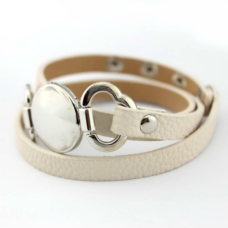 13 Colors Option Leather Wrap Monogram Bracelet  Blank Disc Charm - Fashion Jewelry - Photo 6