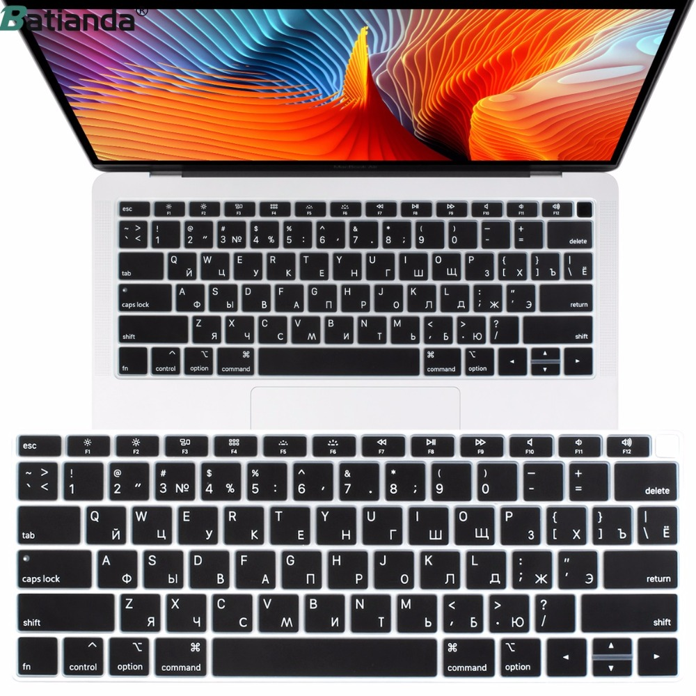 US Enter Russian Russia Layout Silicone Keyboard Cover For New Macbook Air 13 Inch 2018 2019 Only Fit To Model A1932 Black