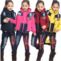 Autumn Winter Children's Kids Clothing Set Baby Boy/girl Sports Suit Winter Clothes tracksuit Thickening Velvet Vest 3pcs Denim