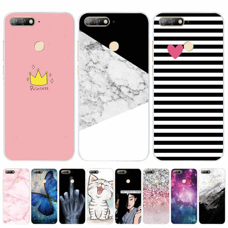 "For Huawei Honor 7C Case Cover 5.7"" Soft TPU Silicone Bumper on Honor 7C Cases for Huawei Honor 7C AUM-L41 Phone Case Back Cover"
