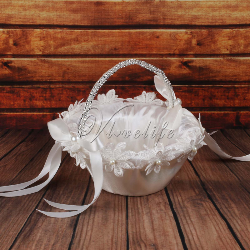 Online Shop White Wedding Flower Girl Basket With Flowes Pearls