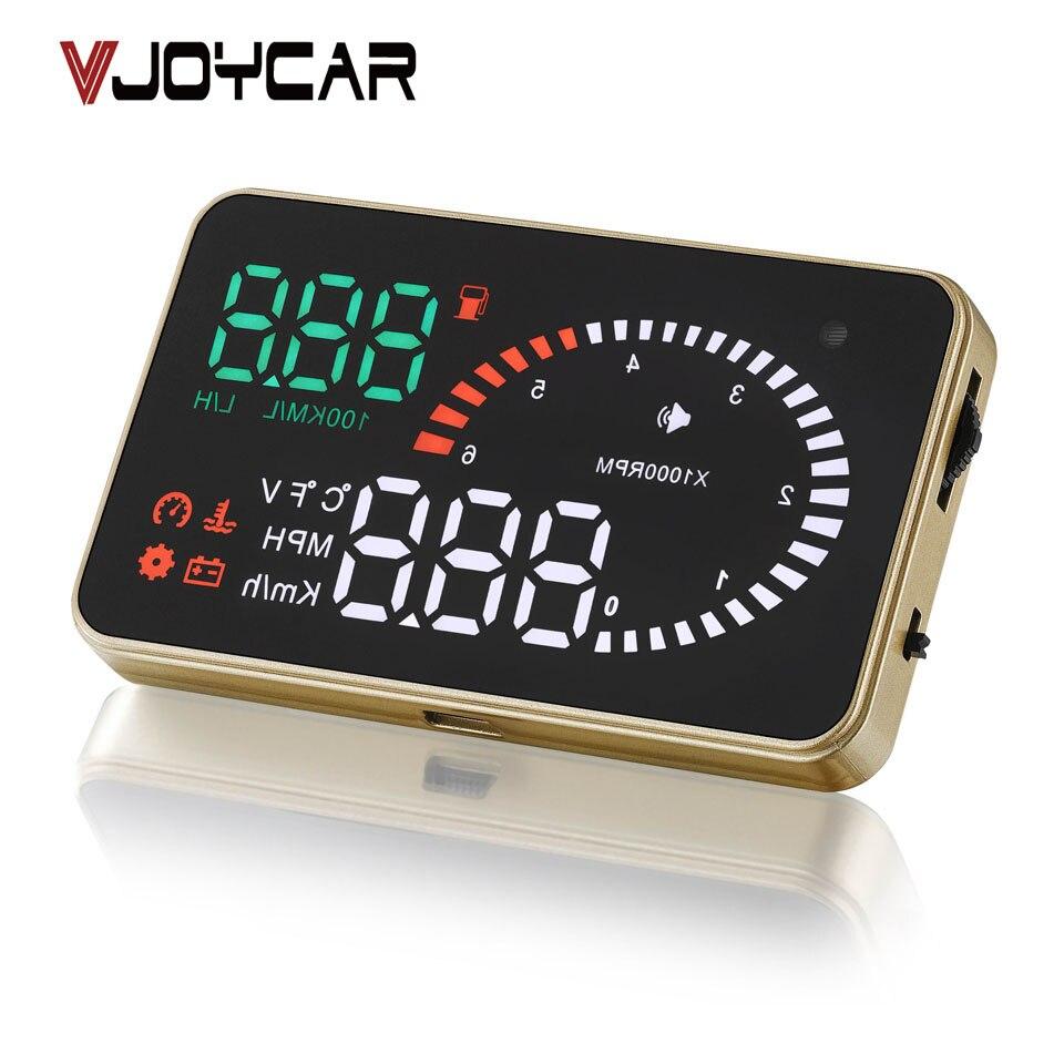 VJOYCAR X6 3 Auto Hud Head Up Display OBD De Voiture Compteur De Vitesse OBD2 Speedo Sur Vitesse Tension D'alarme Pare-Brise Projecteur OBDii Plug