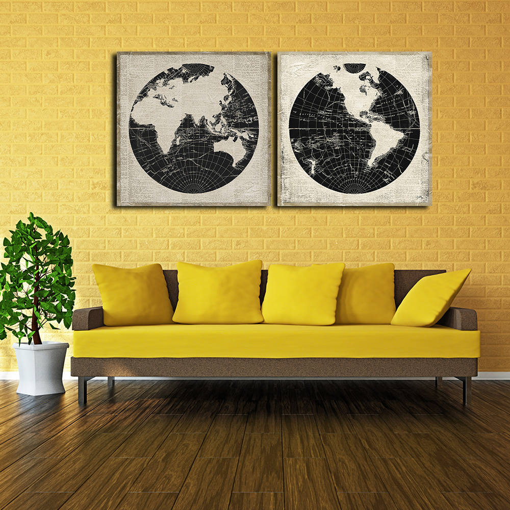 Global World Map Wall Decor, Abstract Black and White World Map ...