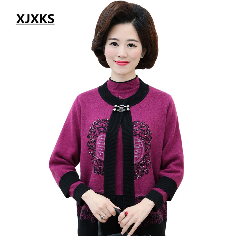 XJXKS High Quality Female Cardigan Autumn 3 4 Sleeve Sweaters Cardigan Real Two Pieces Set Women