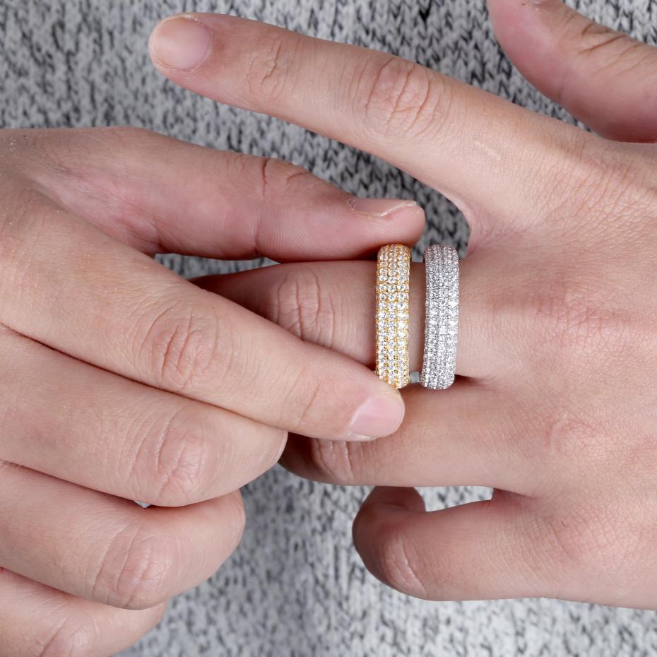 Image 5 - Лучшее качество, 925 пробы Серебряное кольцо с штампом, полностью покрытое льдом кубического циркония, мужские и женские обручальные кольца, очаровательные ювелирные изделия для подарков-in Кольца from Украшения и аксессуары