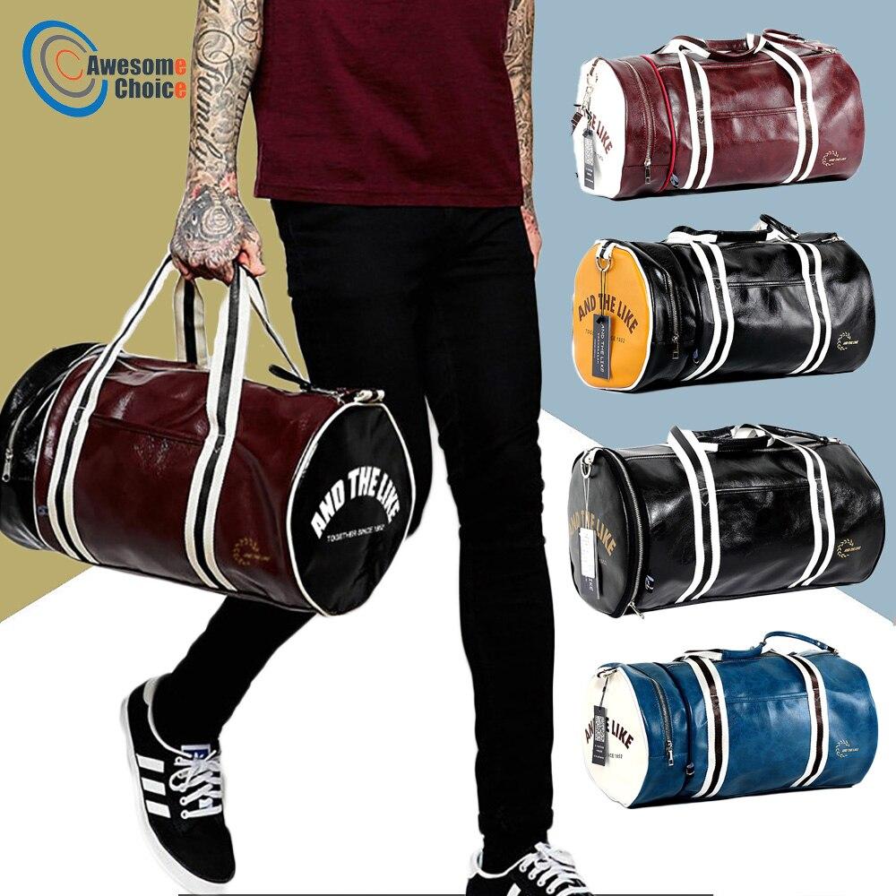 Quality PU Leather Gym Male Bag Top Female Sport Shoe Bag for Women Fitness Over the Shoulder Yoga Bag Travel Handbags