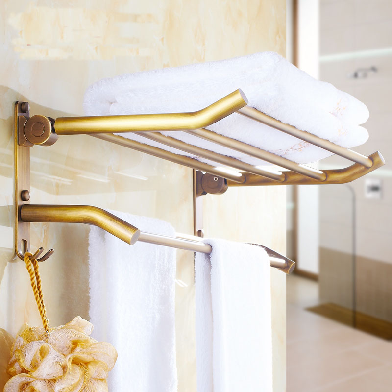 13 Style 60cm Brass Wall Bathroom Shelves, Antique Towel Rack Shelf With Hooks Wall Mounted, Copper Retro Dual Tier Towel Rack