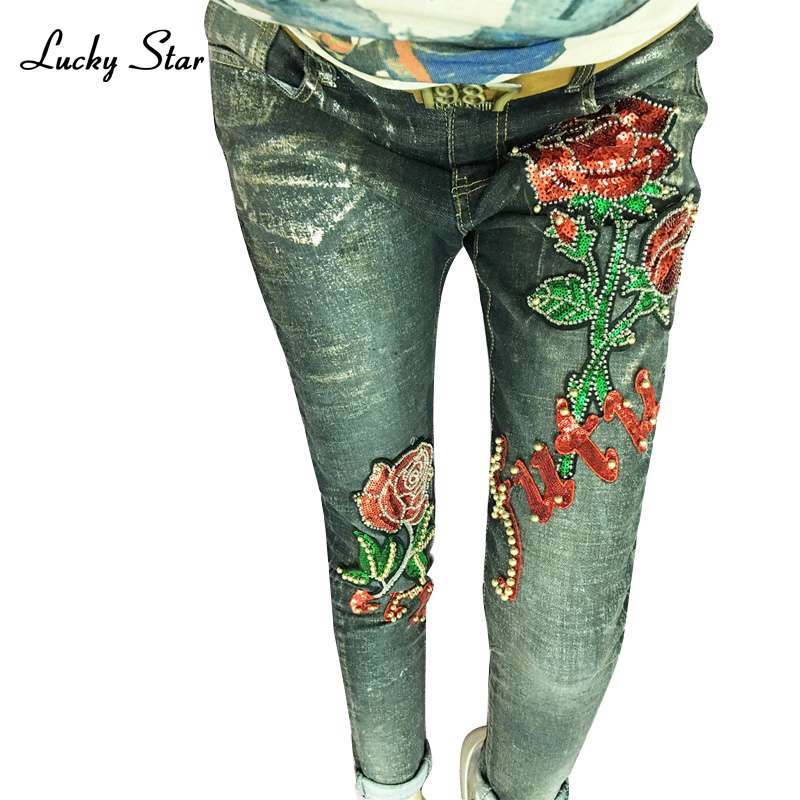 Lucky Star Flower Sequin Jean Fashion Beading Stretch Female Jeans Vintage Pencil Trousers D327 lucky ice star
