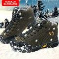 De alta calidad del comercio Exterior de los hombres solteros originales de alta ayuda a prueba de agua al aire libre botas de montaña zapatos de trekking unisex 558