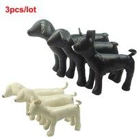 3pcs Lot Pawstrip Standing Position Dog Mannequin Toys PU Leather Dog Models Pet Shop Display
