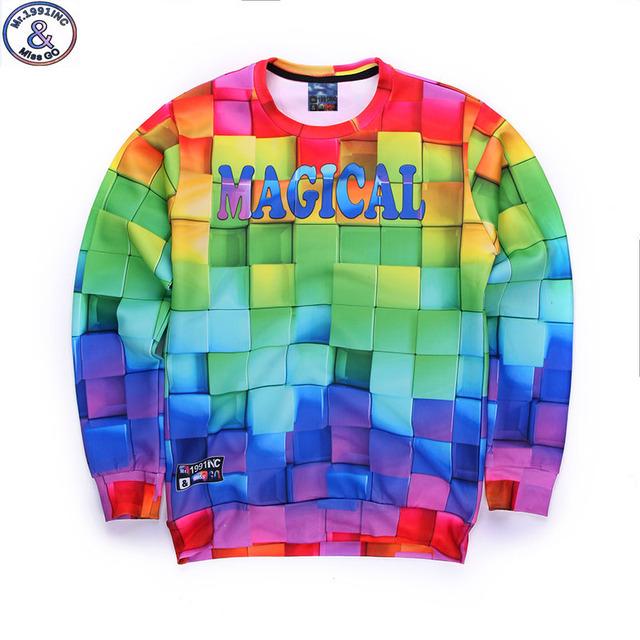 Mr.1991 marca juventude moda primavera e no Outono fina camisolas meninas grandes crianças engraçado 3D Magcal basculador impressos hoodies menino W3
