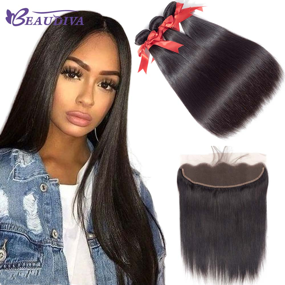 Straight Hair Bundles With 13 4 Lace Frontal Brazilian Hair Weave Bundles With Closure Human Hair